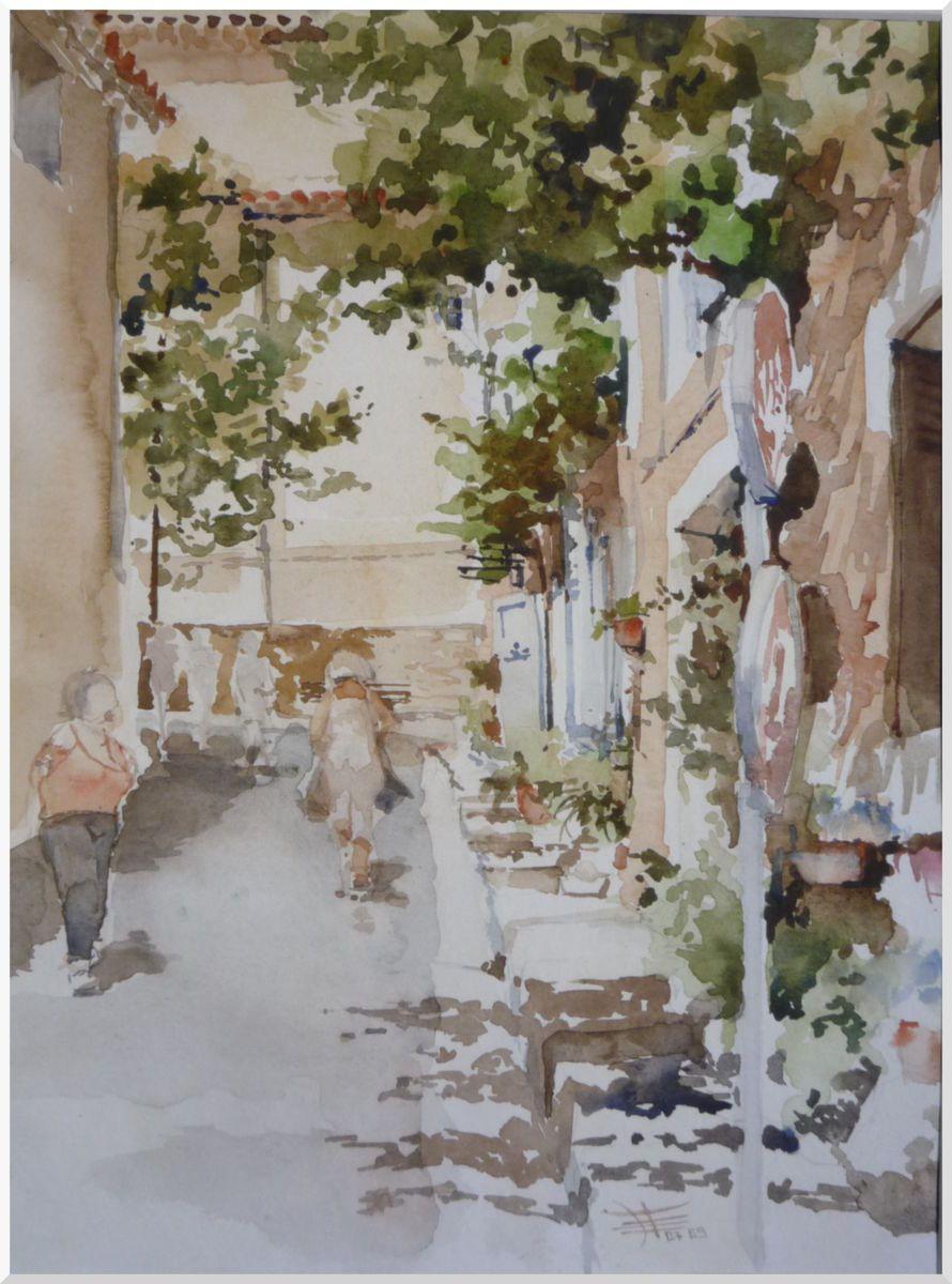 Retour Des Courses Peinture 40x30 Cm Par Emile Thibaut