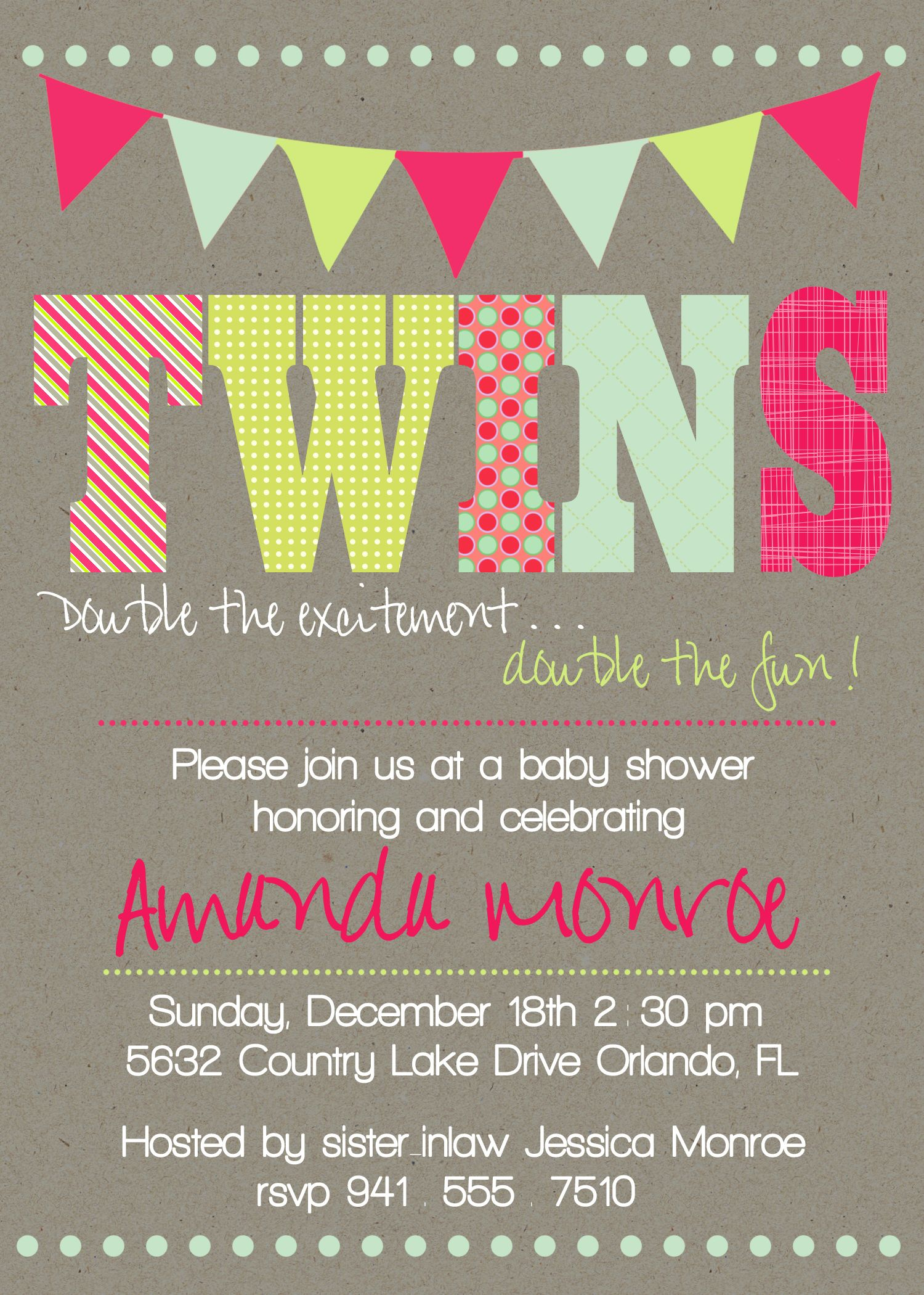 Download Now FREE Template Twin Baby Girl Shower Invitations