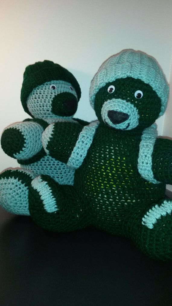 Hand Made Crochet Teddy Bears colors dark green and by AfishuWear, $30.00