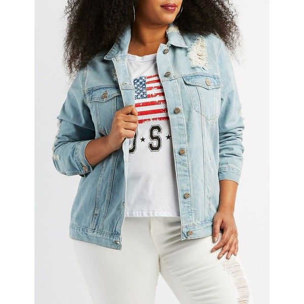 860d3bb83338c Charlotte Russe Destroyed Denim Boyfriend Jacket ( 26) ❤ liked on Polyvore  featuring plus size women s fashion