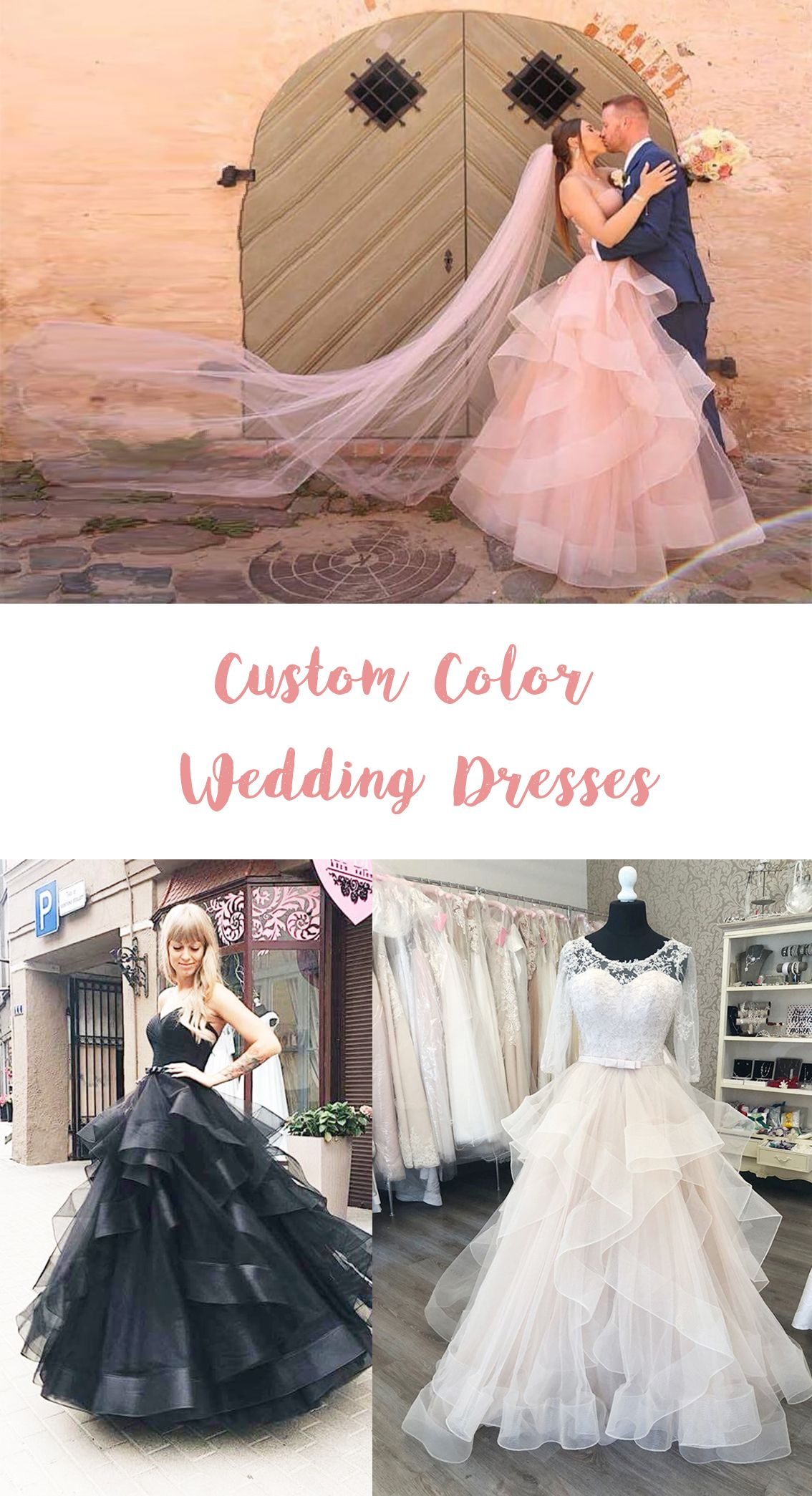 Custom color beach wedding dresses red black gray light blue pink