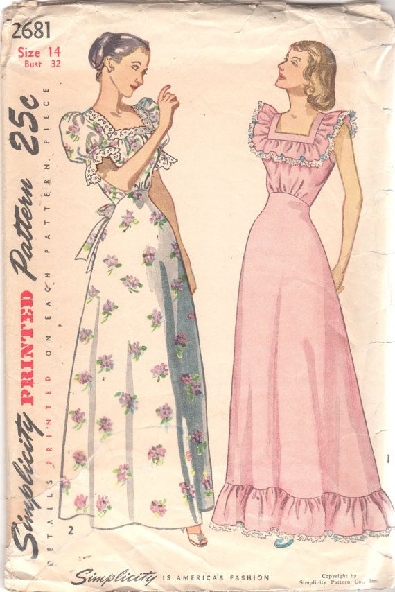 Simplicity 2681 1940s Misses Nightgown Pattern Softly Gathered High ...