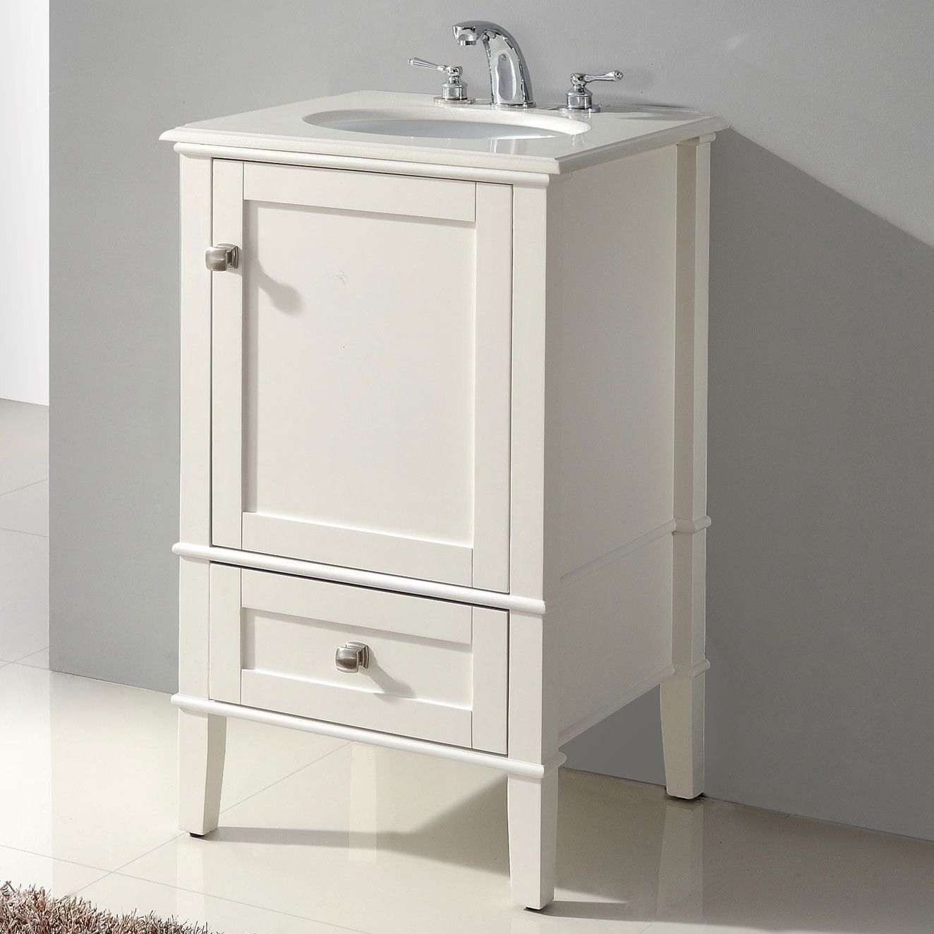 21 Inch Single Bathroom Vanity Set With Off White Marble Top 20