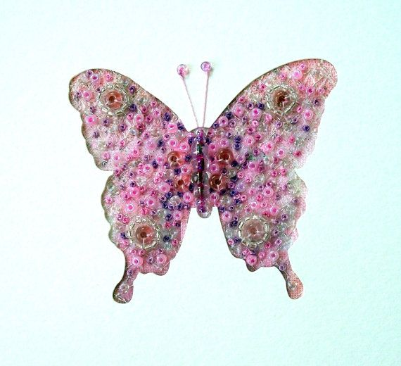 Beaded butterfly card  pink embroidered fabric art by StitchMikki