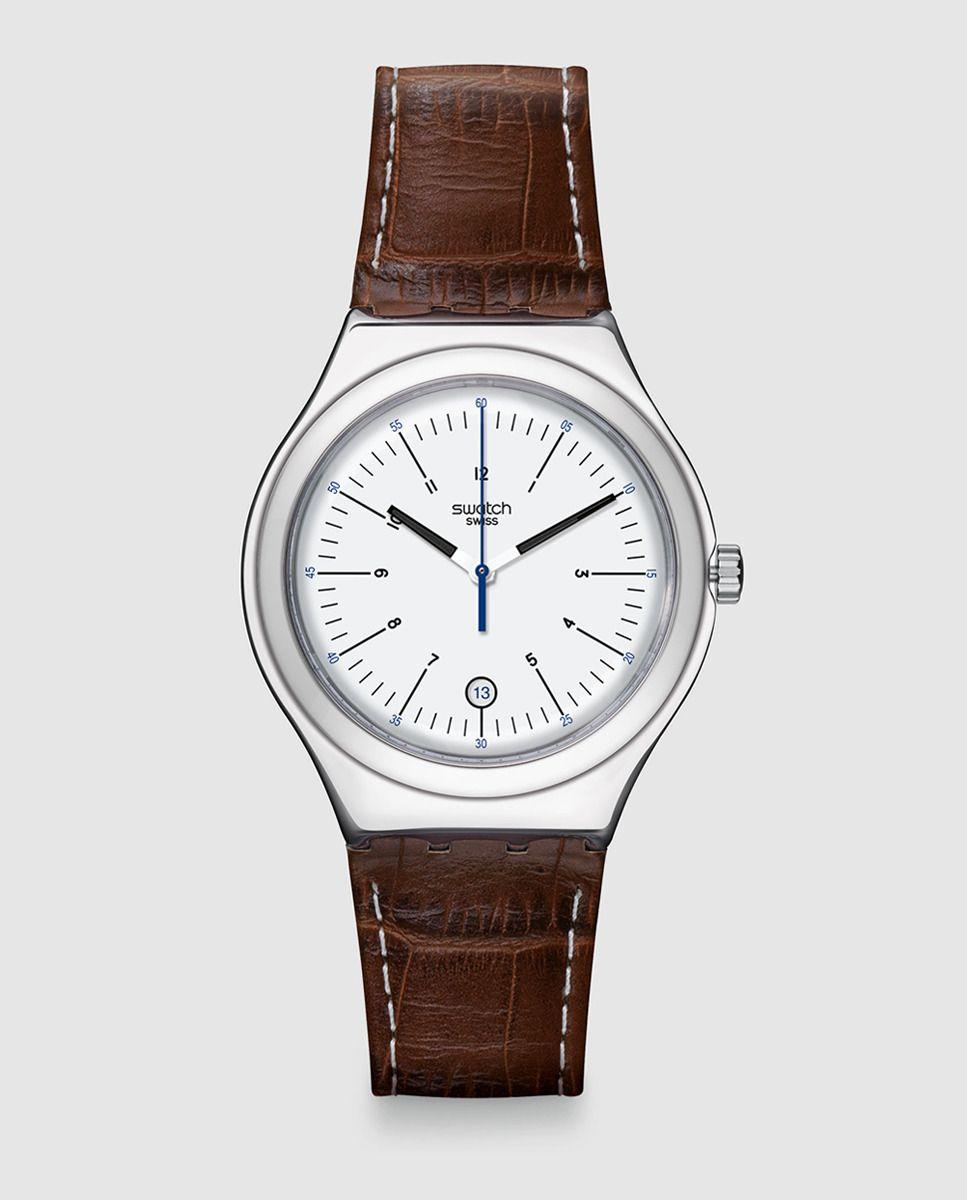 4131ec1dbadb Swatch Reloj de hombre YWS401 cuero marrón Joyería y Relojes