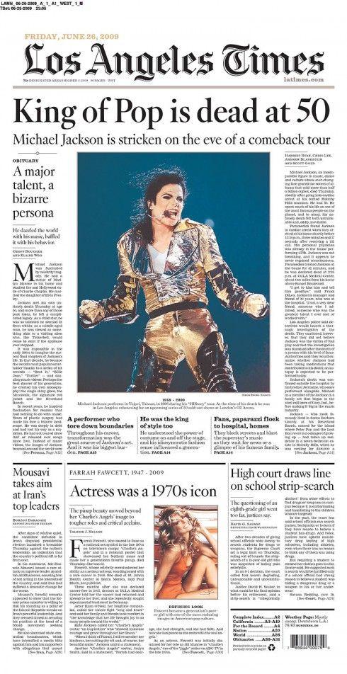 June 25 2009 Los Angeles Times King Of Pop Michael Jackson