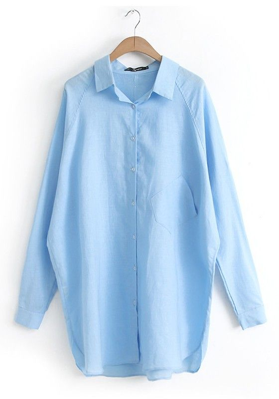 Light Blue Plain Long Sleeve Linen Cotton Blouse