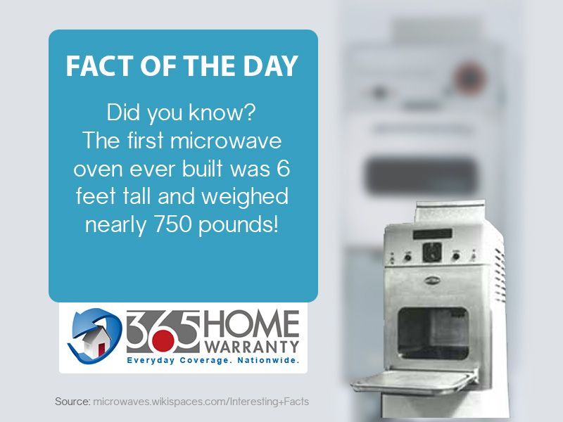Fact Of The Day Did You Know The First Microwave Oven Ever Built Was 6 Feet Tall And Weighed Nearl Home Warranty Home Warranty Plans Home Warranty Companies