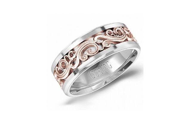 Crown Ring Hw 6106 M10 Scroll Men S Wedding Band Two Tone