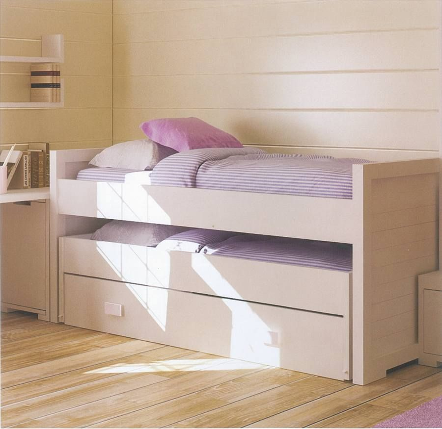 Cama infantil doble con cama nido inferior sinipity for Cama nido doble con ruedas