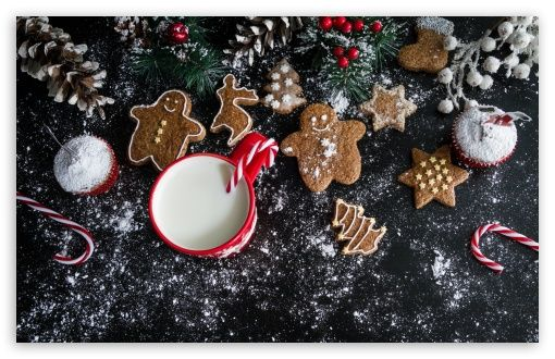 Christmas Gingerbread Cookies and Milk HD Wallpaper for 4K