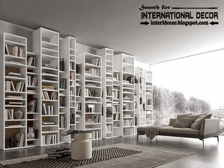 top modern home library design organizing ideas furniture multi level shelves and bookcase - Modern Home Design Furniture