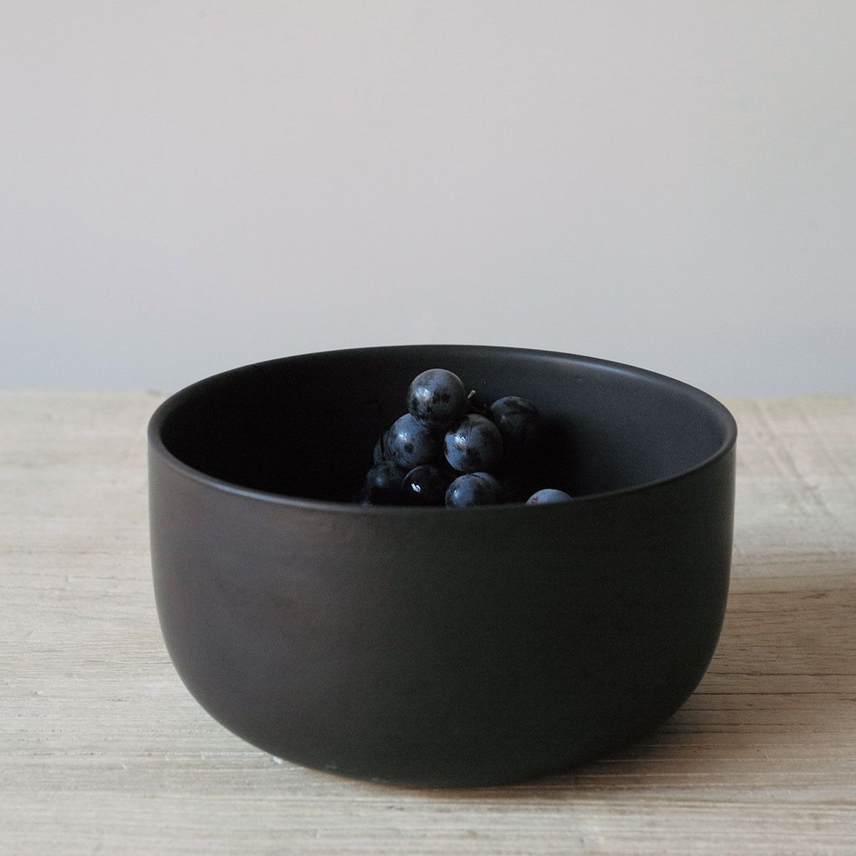black stoneware bowls + cups