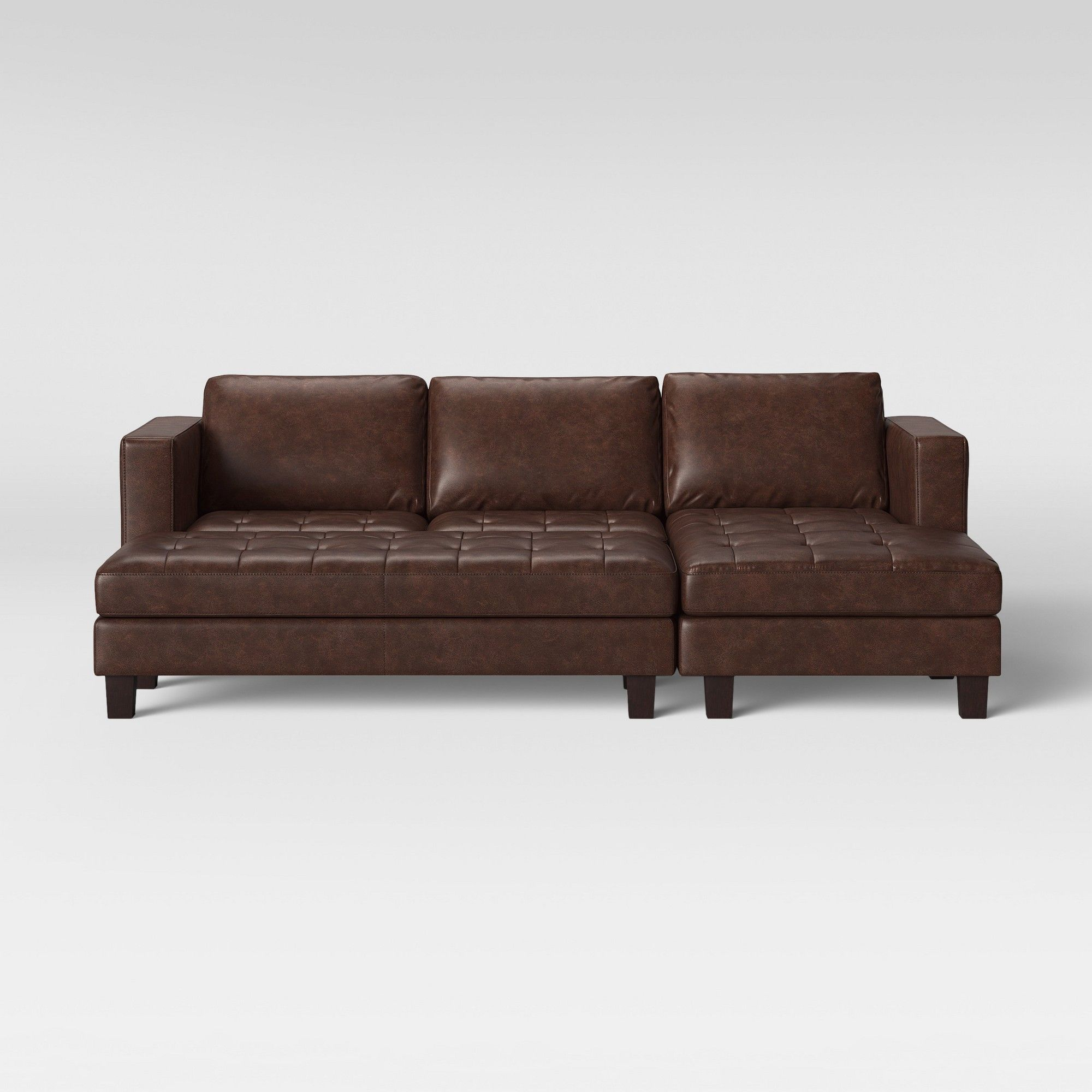 Faux Leather Sofa In A Box Edgemere Sofa Sectional With Tufting And Large Ottoman Brown