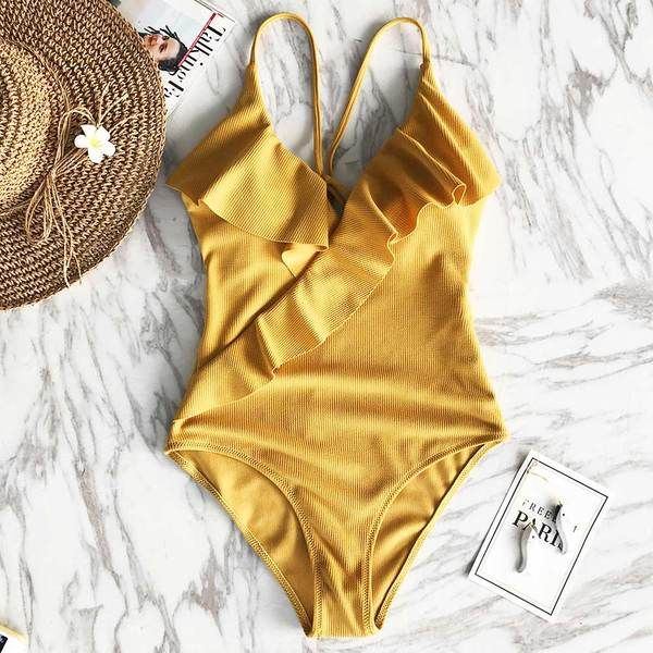 Ripped Ruffles Strap Swimsuit | Swimsuits, Swimwear, Cute