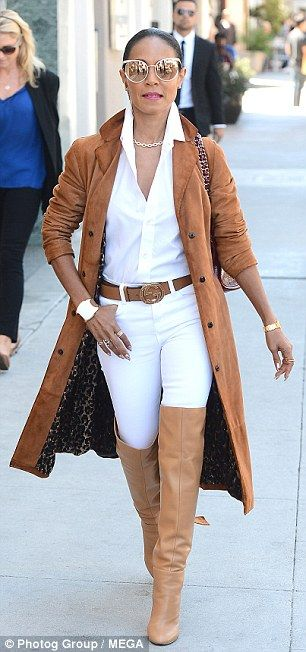 Camel colored ensemble: Jada - who later covered up in a beige suede coat - will celebrate 20 years of marriage with husband Will Smith on December 31