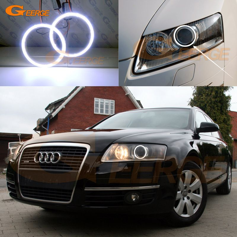 For Audi A6 S6 Rs6 2005 2006 2007 2008 Xenon Headlight Excellent Angel Eyes Ultra Bright Illumination Cob Led Angel Eyes Kit Audi Xenon Headlights Audi A6