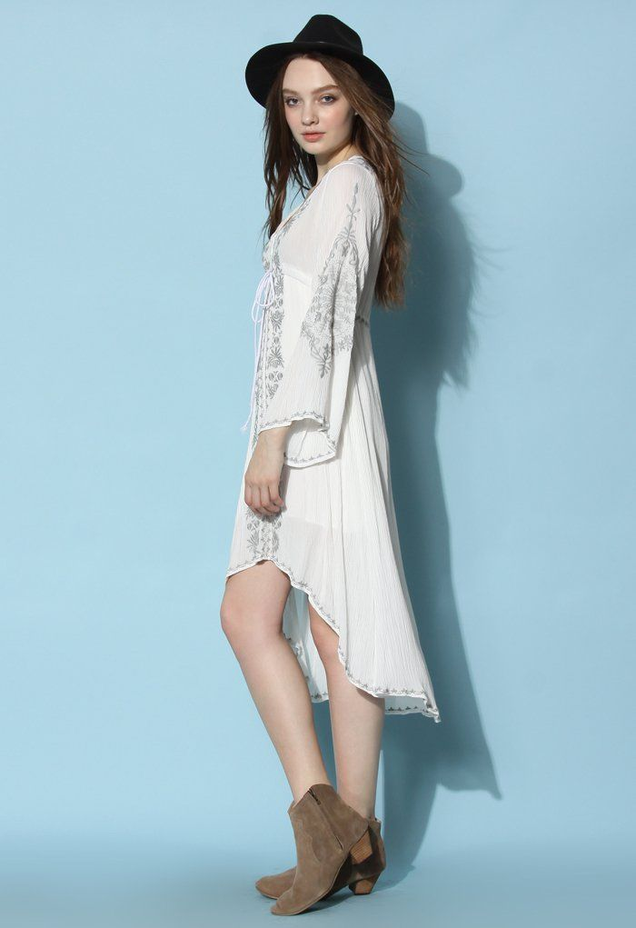 Bali Summer Embroidered Maxi Dress in Off-white - Dress - Retro, Indie and Unique Fashion