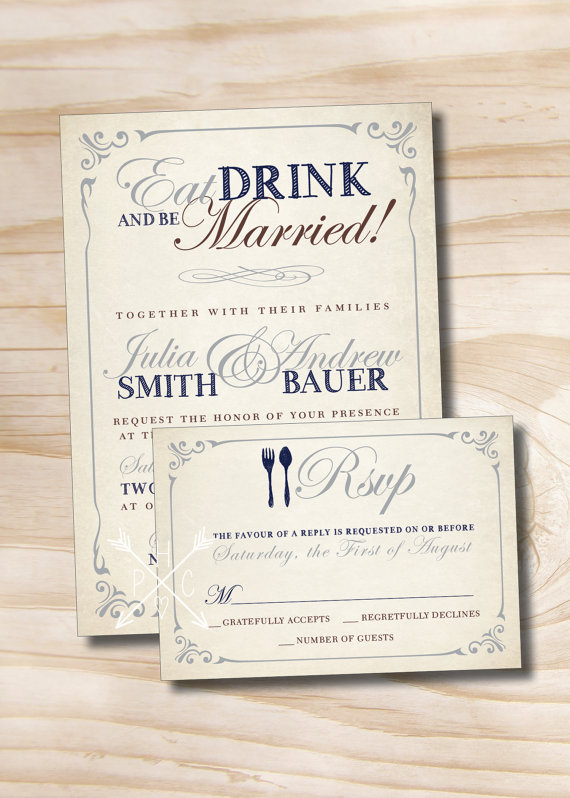 Eat drink and be married rustic wedding invitationresponse card eat drink and be married rustic wedding invitationresponse card 100 professionally printed invitations stopboris Choice Image