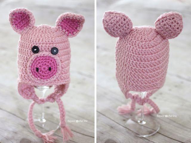 Crochet Pig Hat Pattern | Pinterest | Gorros, Tejido y Gorro tejido