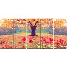 Landscape with Poppy Flowers 5 Piece Wall Art on Wrapped Canvas Set