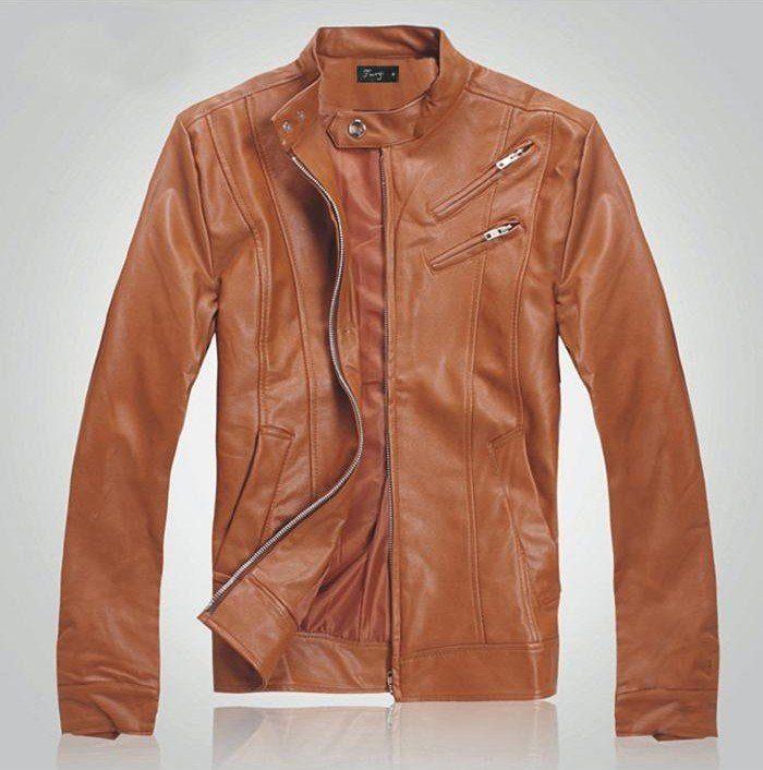 97a11356a Mens Faux Leather Jacket Korean Style Fit Slim Mandarin Collar PU ...