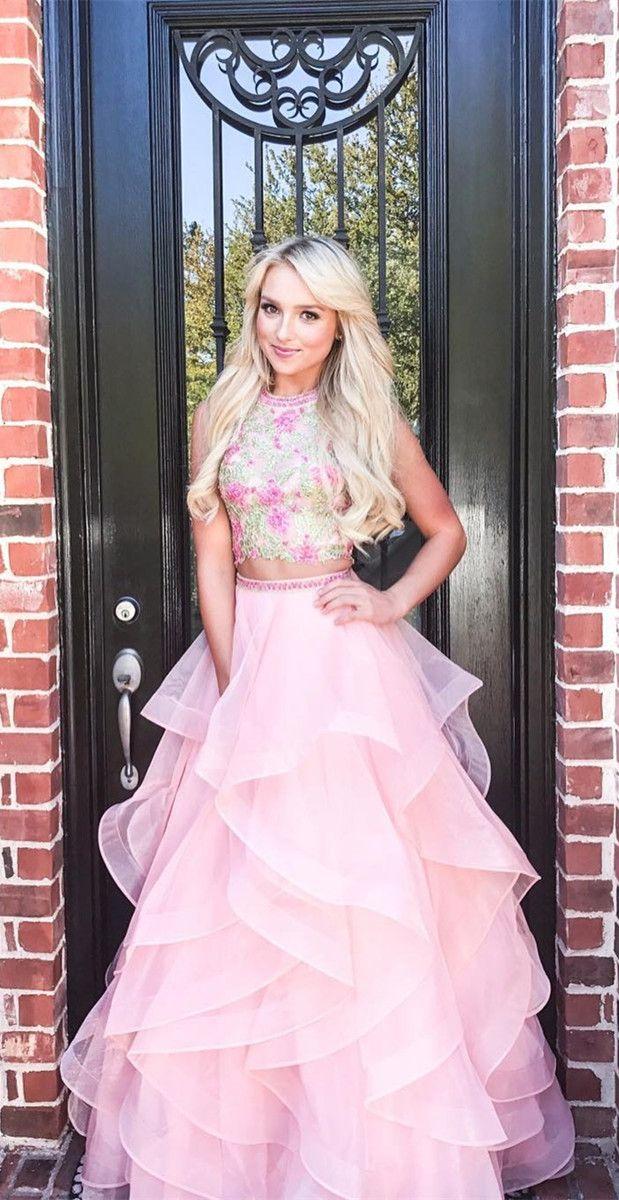 princess two piece pink long prom dress, 2018 long prom dress, pink ...