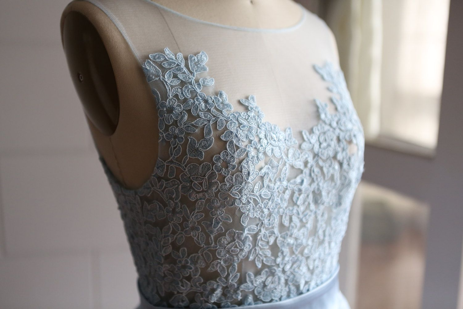 Mint Light Blue Sheer See Through Tulle Lace Wedding by misdress ...