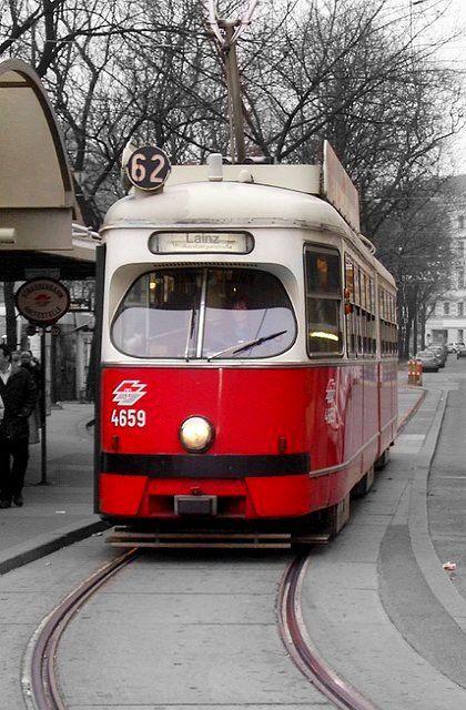 Tram in Vienna, near Opera House, Austria (by leicaroo on Flickr)