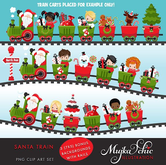Christmas Santa Train Girls Clipart. Choo Cho Polar Express, Santa ...