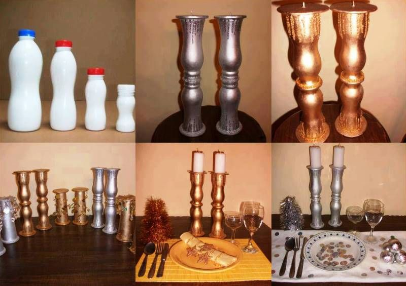 Candle Holders Made By Old Plastic Bottles Diy Recycled