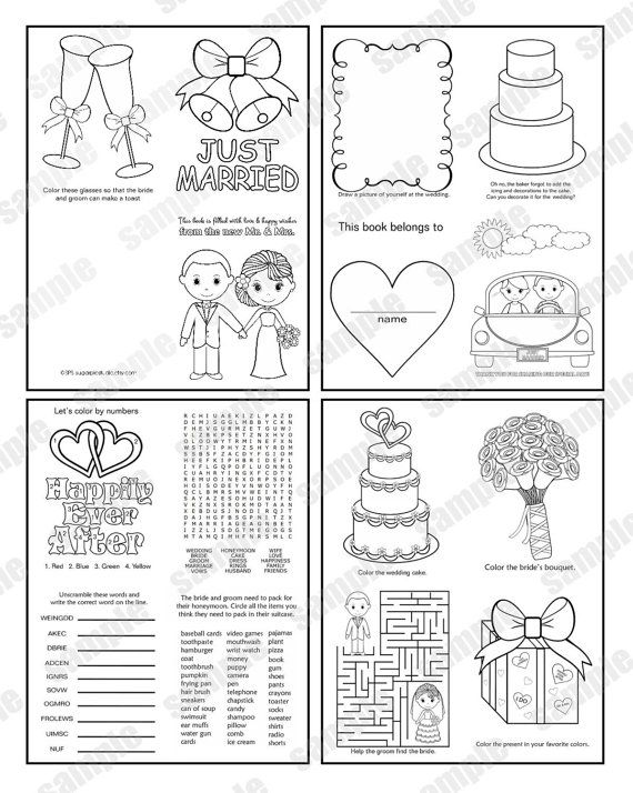 Mini Printable Personalized Wedding Coloring Activity Book Etsy In 2021 Wedding Coloring Pages Wedding With Kids Book Favors