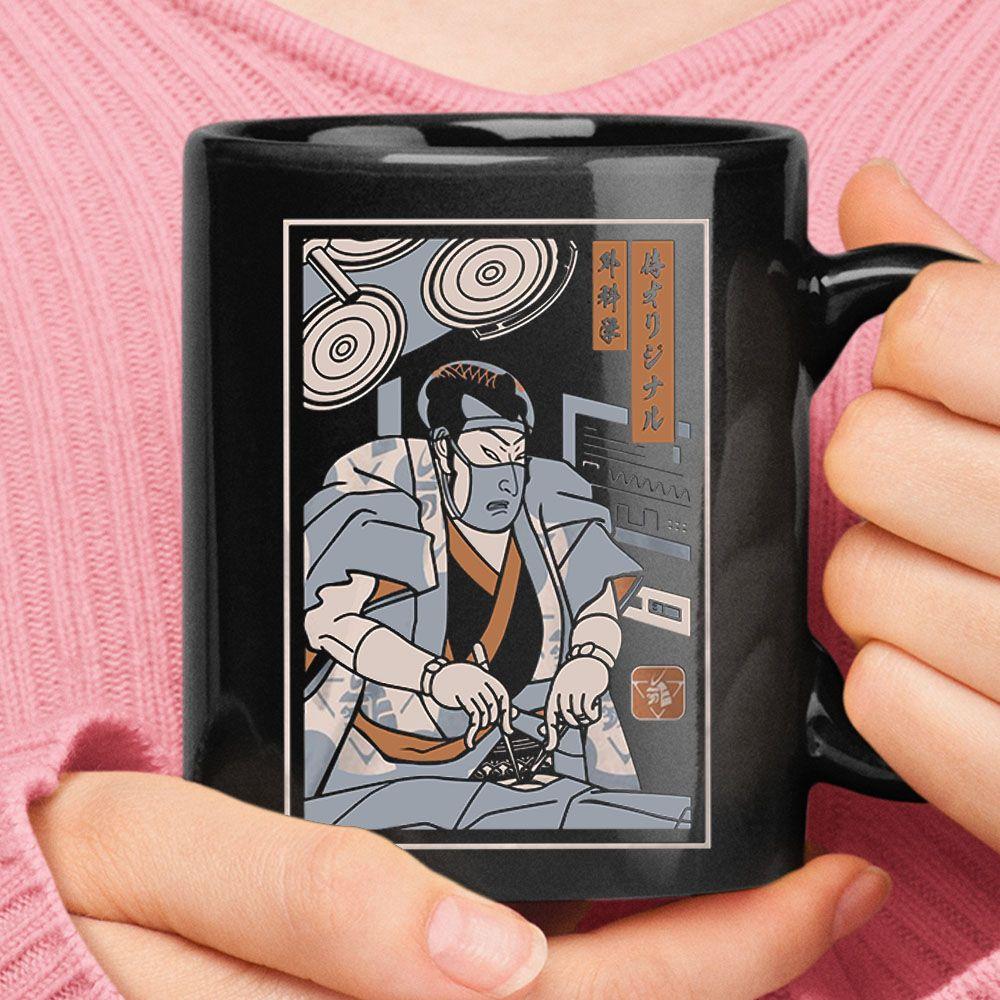 Samurai Surgeon Japanese Painting Style Mug  Potatotee Store This high quality 11oz ceramic black mug has a premium hard coat that provides crisp and vibrant color reprod...