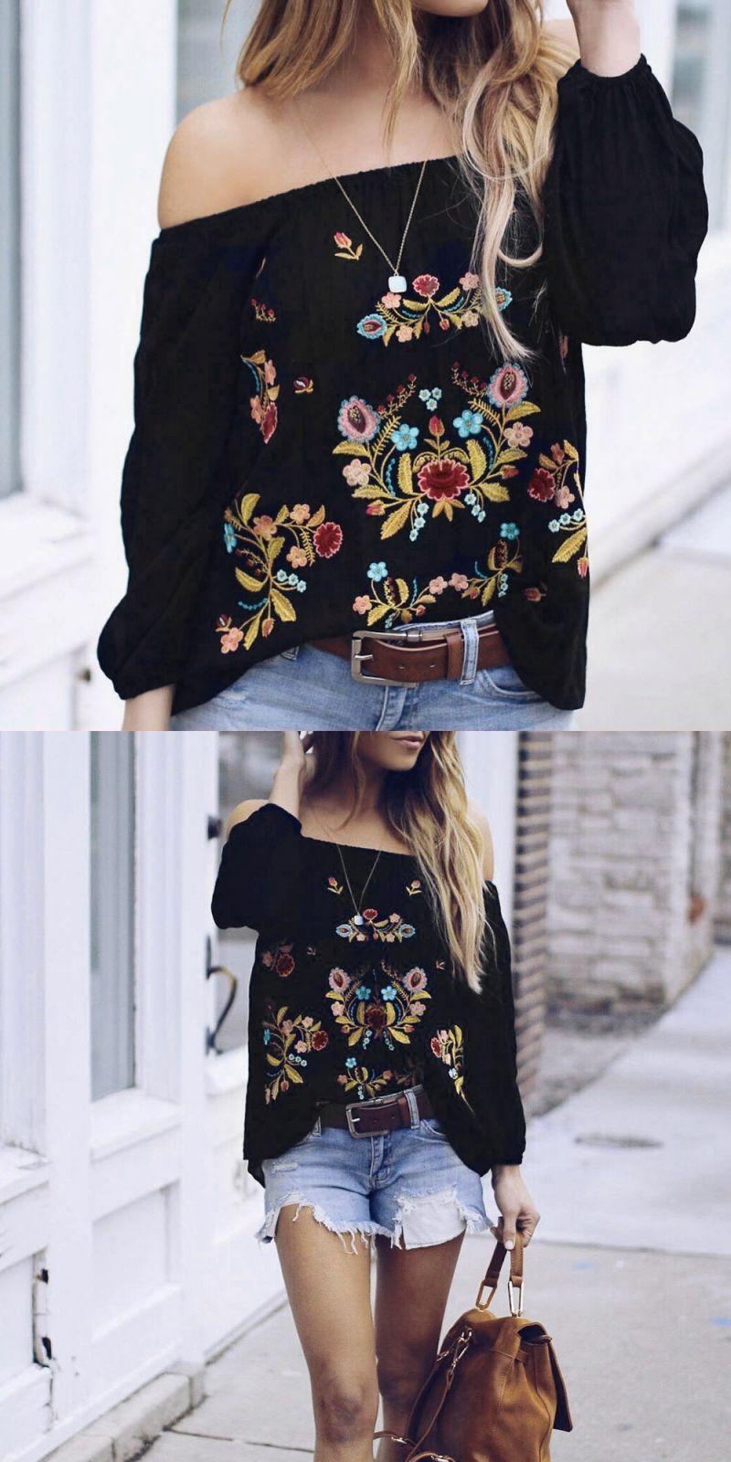 ffedcdaea0d3f Off shoulder floral embroider chiffon blouse black backless long sleeve  women blouses 2018 boho autumn blouse shirt  polyester  regular  casual   chiffon ...