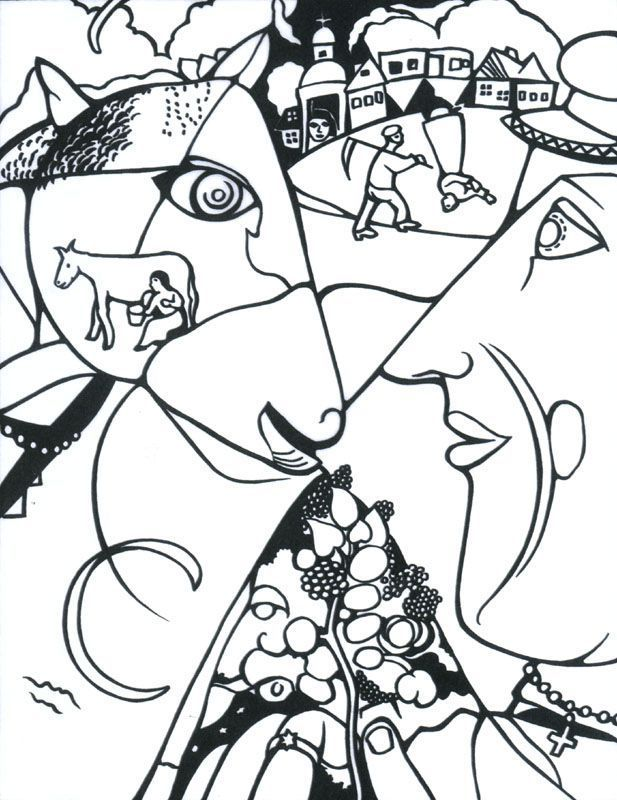 chagall moi et le village coloring page to add to the favor art collection