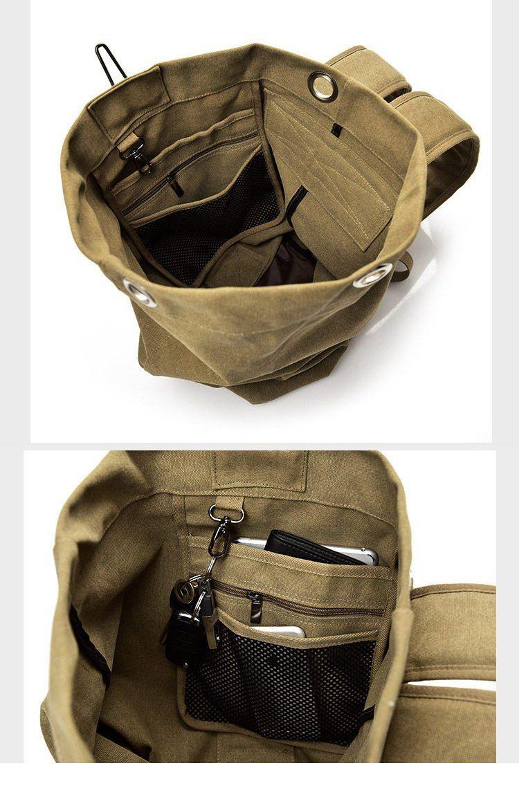 Multifunctional Military Tactical Canvas Backpack Big Army Bucket Bag  Duffle Bag Travel Rucksack 9543474211