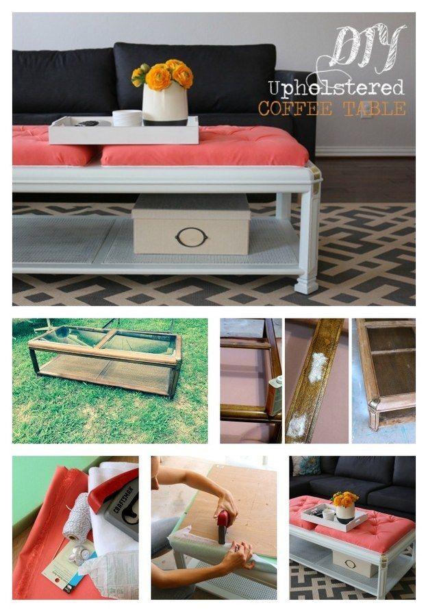 Mesa de centro tapizada: | Mesas de centro tapizadas, Muebles viejos ...