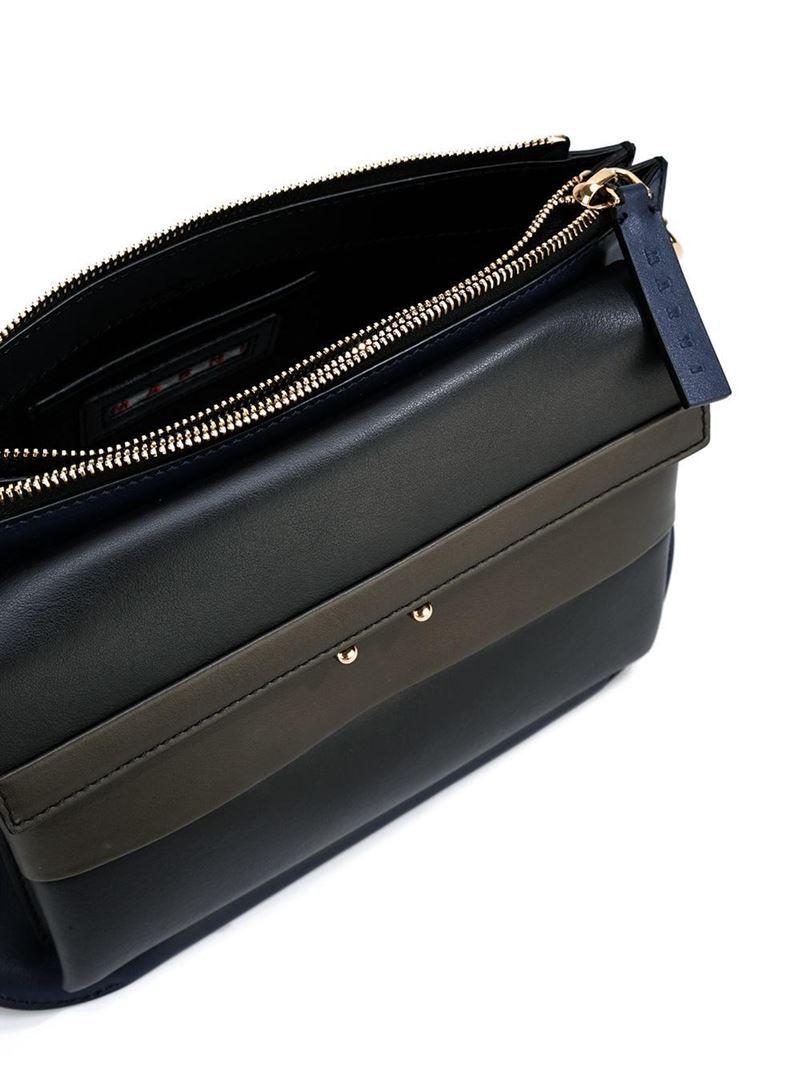 MARNI 'Two-Tone Pocket' Shoulder Bag Blue