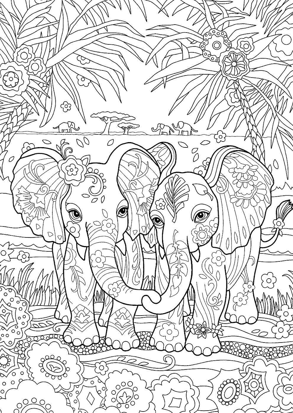 Épinglé par Melany Van Den Heever sur Coloring: Elephants
