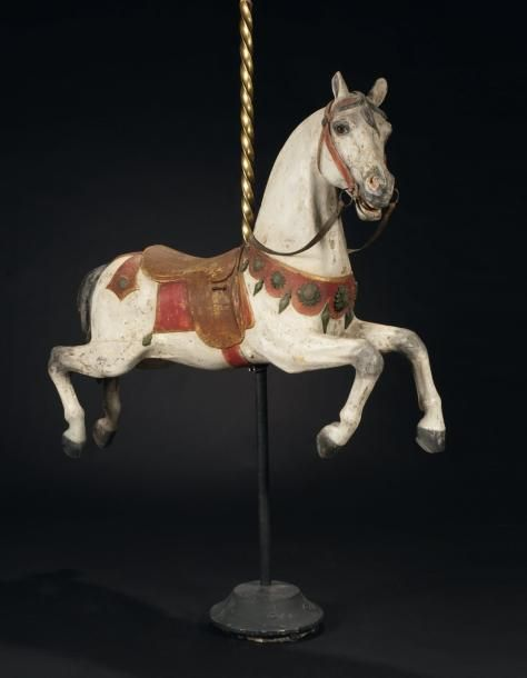 2d35c6b0bcb Gustave BAYOL Broad jumping horse painted carved wood