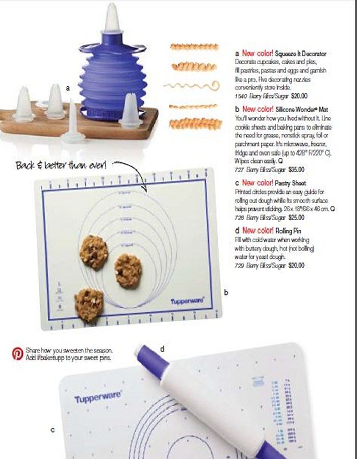 The silicone mat is back and better than ever! Safe in the fridge, freezer, microwave and oven (up to 428 degrees). Use in place of parchment paper to bake your cookies! $35 order here: New Color in Fall/Holiday 2014 catalog; Berry Bliss/Sugar.