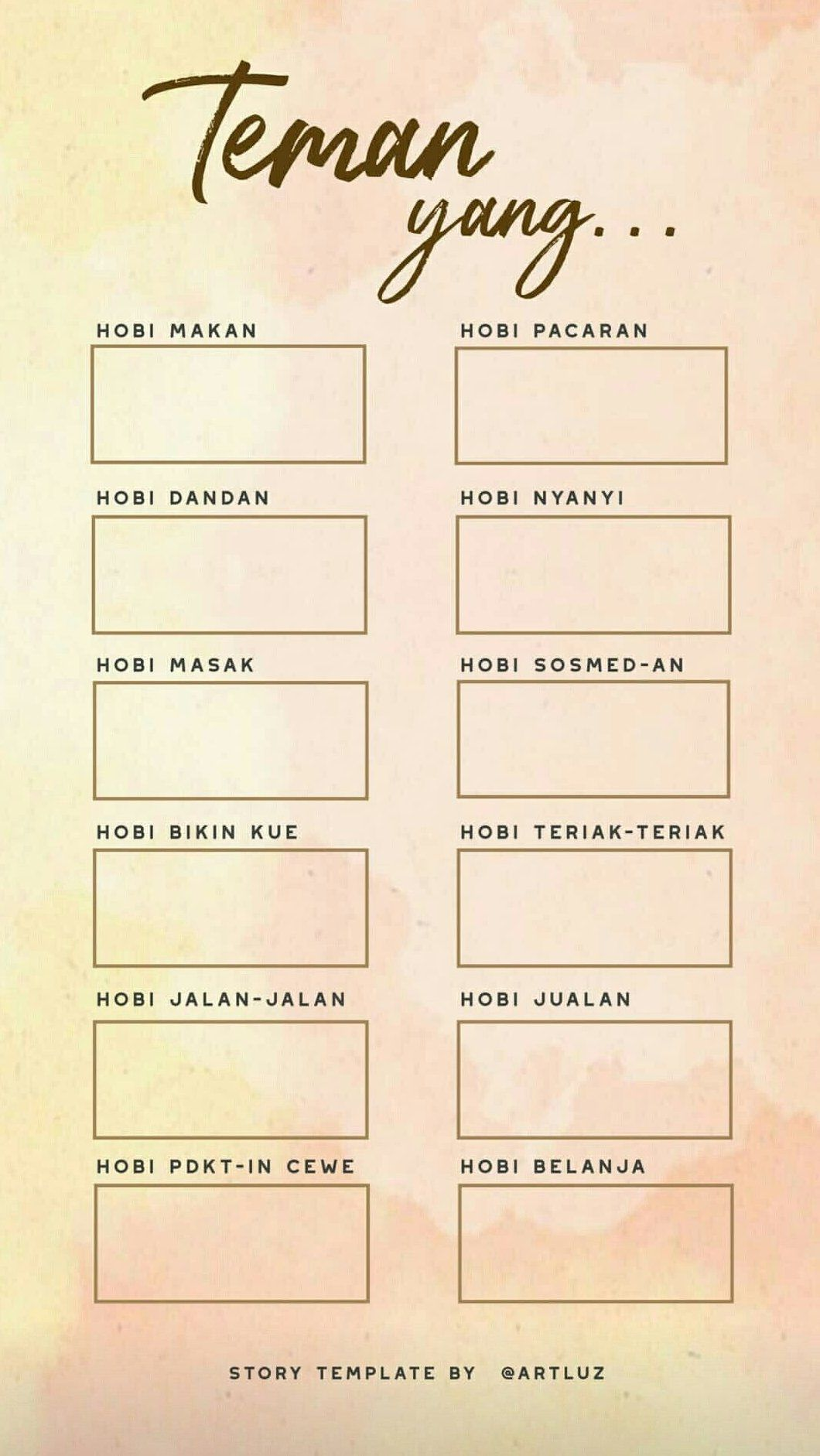 Templates Instagram Stories Indonesia Zodiak In 2020 Bingo Template Instagram Quotes Instagram Story Questions