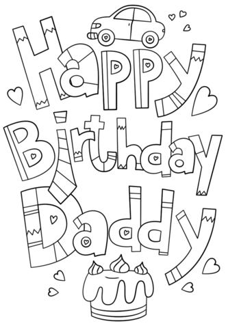 Happy Birthday Daddy Doodle Coloring page (With images ...