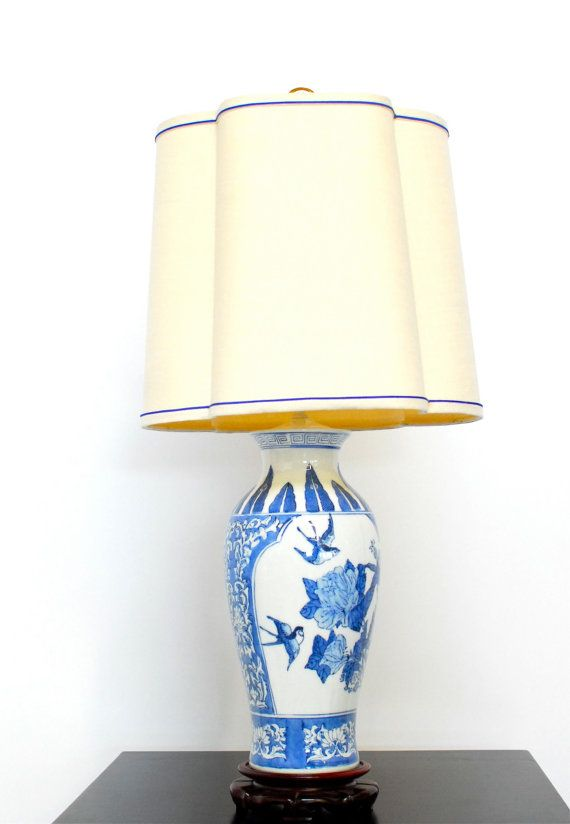 Asian Blue And White Ginger Jar Lamp By Erinlaneestate On Etsy Large Vintage Featuring Beautiful Flowers Birds