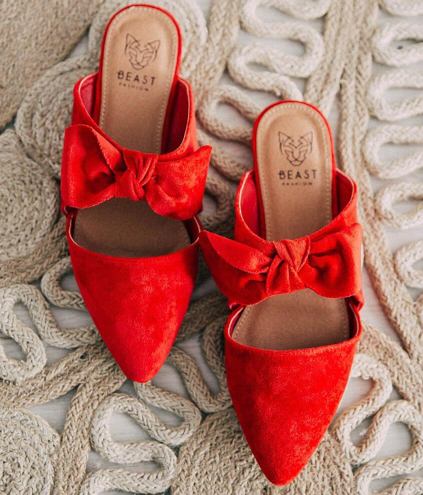 Beast Fashion Maisy Bow Mule Shoe Women S Shoes In Red Buckle Bow Mules Shoes Bow Mules Mule Shoe