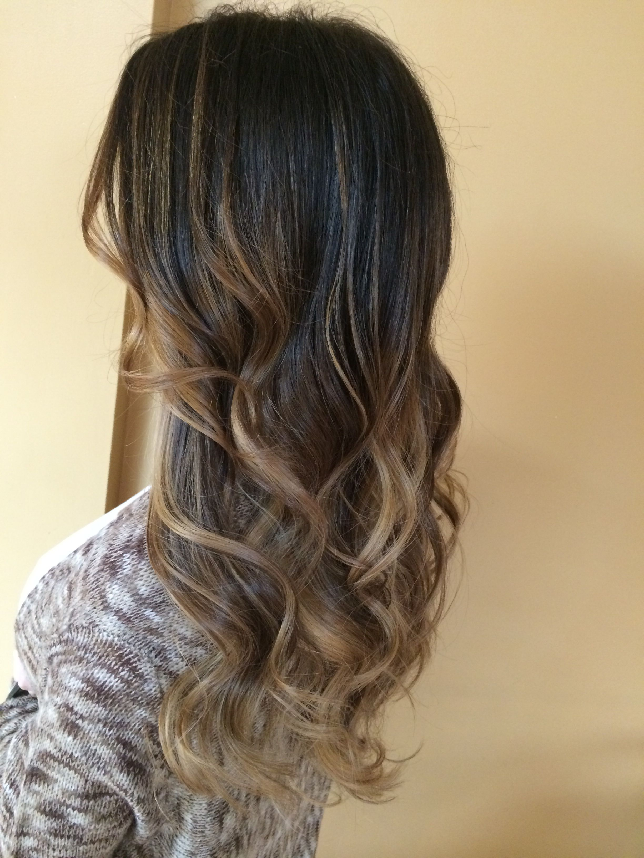 Dark Brown Fading Into A Beige Blonde Balayage Glaze Long Layered Haircut Blowdry Curls Balayage Hair Blonde Long Balayage Hair Ash Balayage Hair Grey