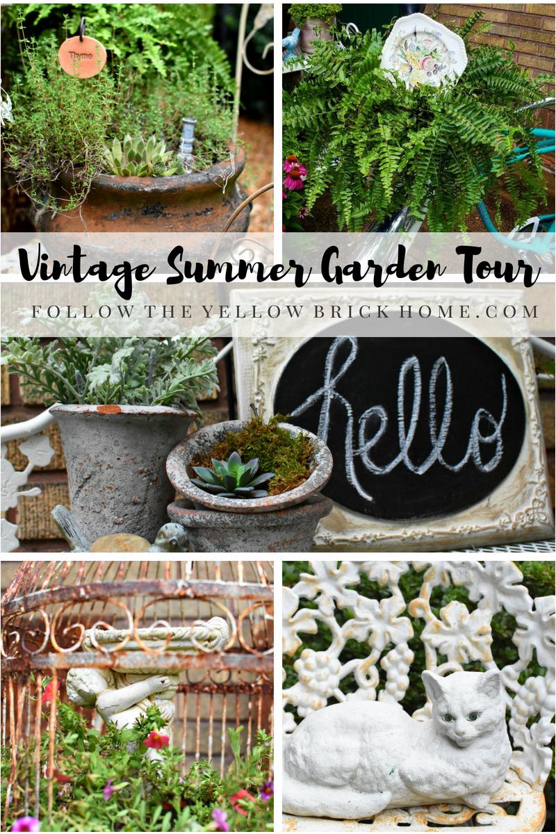 How To Add Vintage Style To Your Garden Using Thrifted Finds Vintage Garden Decor Container Gardening Garden Yard Ideas