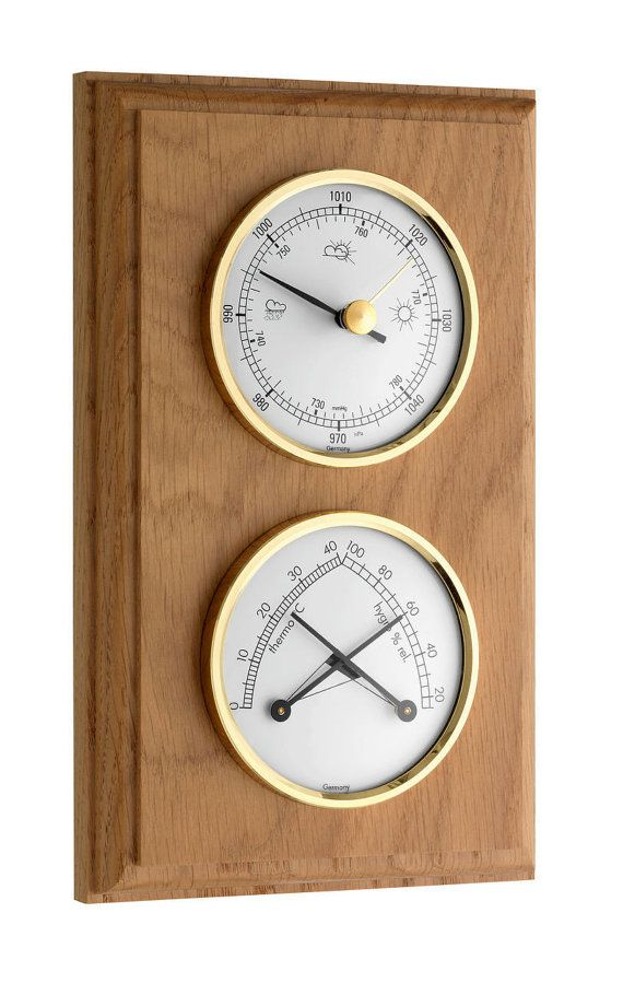 Oak And Brass Vintage Look Weather Station Includes A Etsy Weather Station Weather Weather Instruments