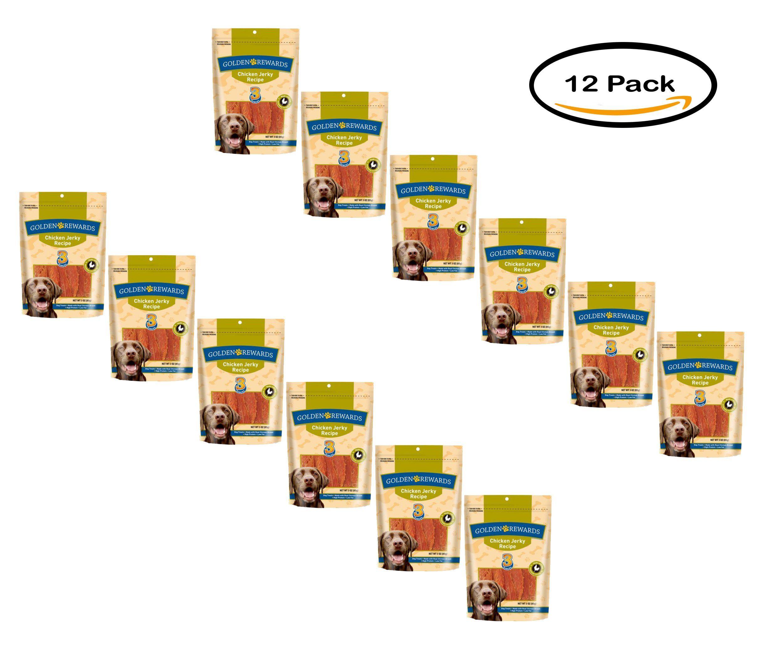 Pack of 12 golden rewards chicken jerky dog treats 3 oz