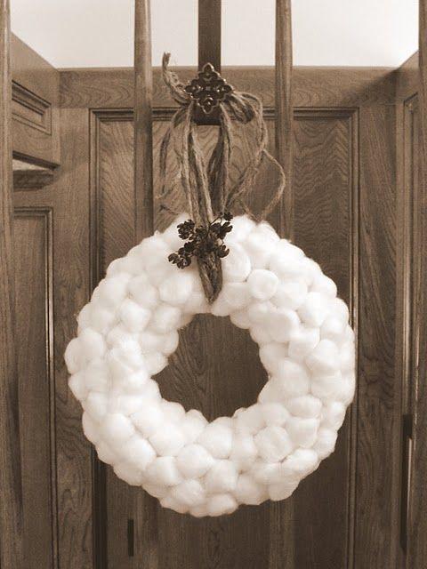Fit2feelbetter Cotton Ball Wreath Ball Wreath Winter Wreath Wreath Crafts